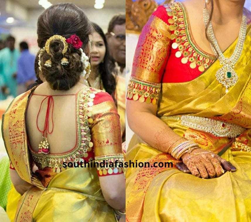 kaasu work pattu saree blouses