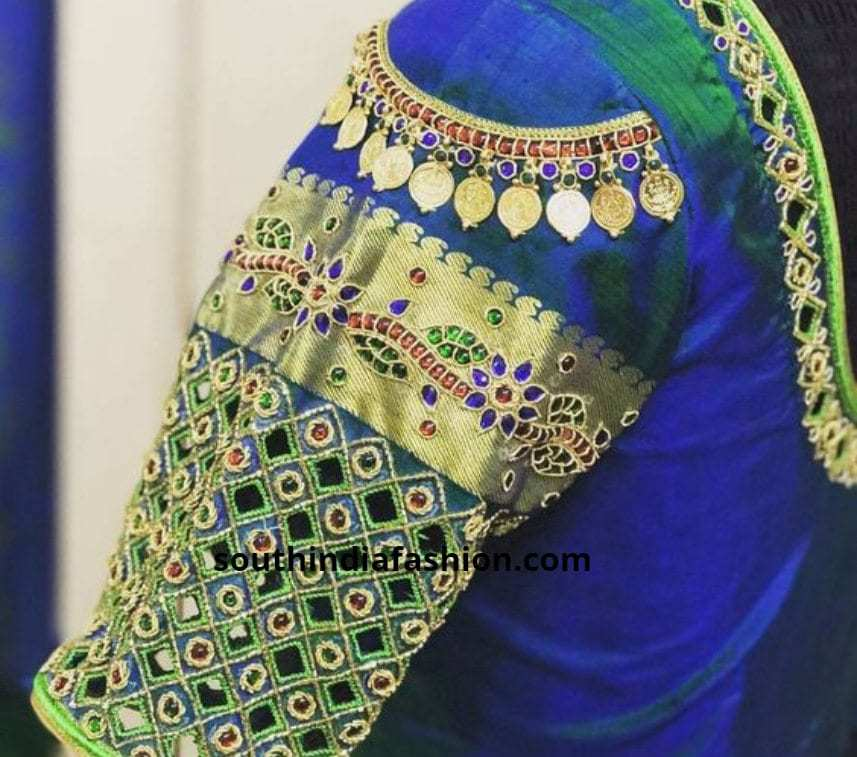 kaasu embellished pattu saree blouse