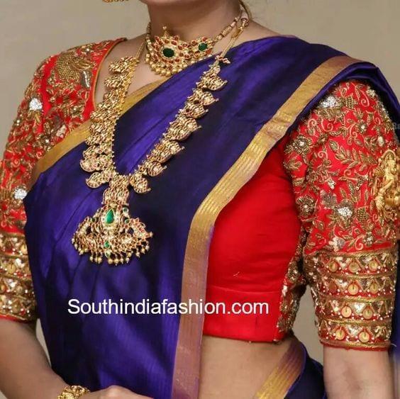 contrast kaasu embellished pattu saree blouse