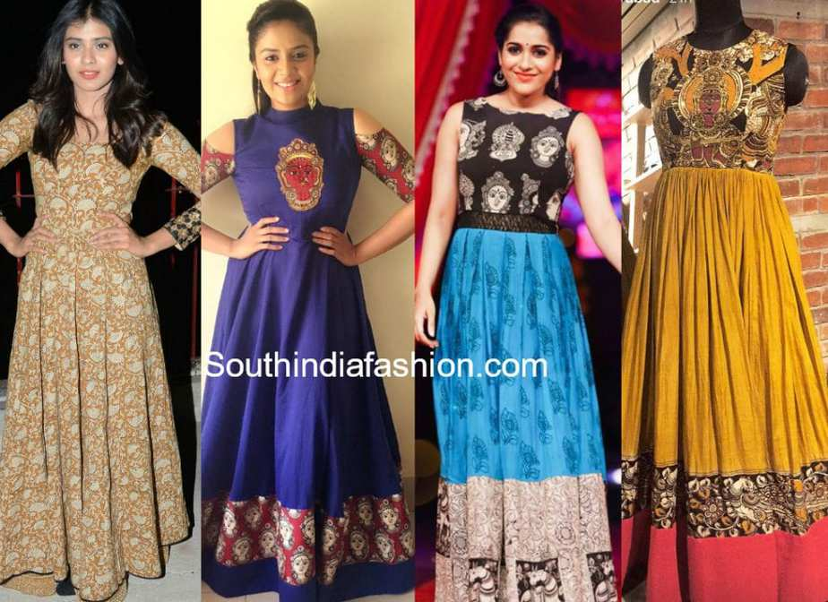 89e96f9e156 20 Beautiful Kalamkari Anarkali And Gown Designs To Try Out