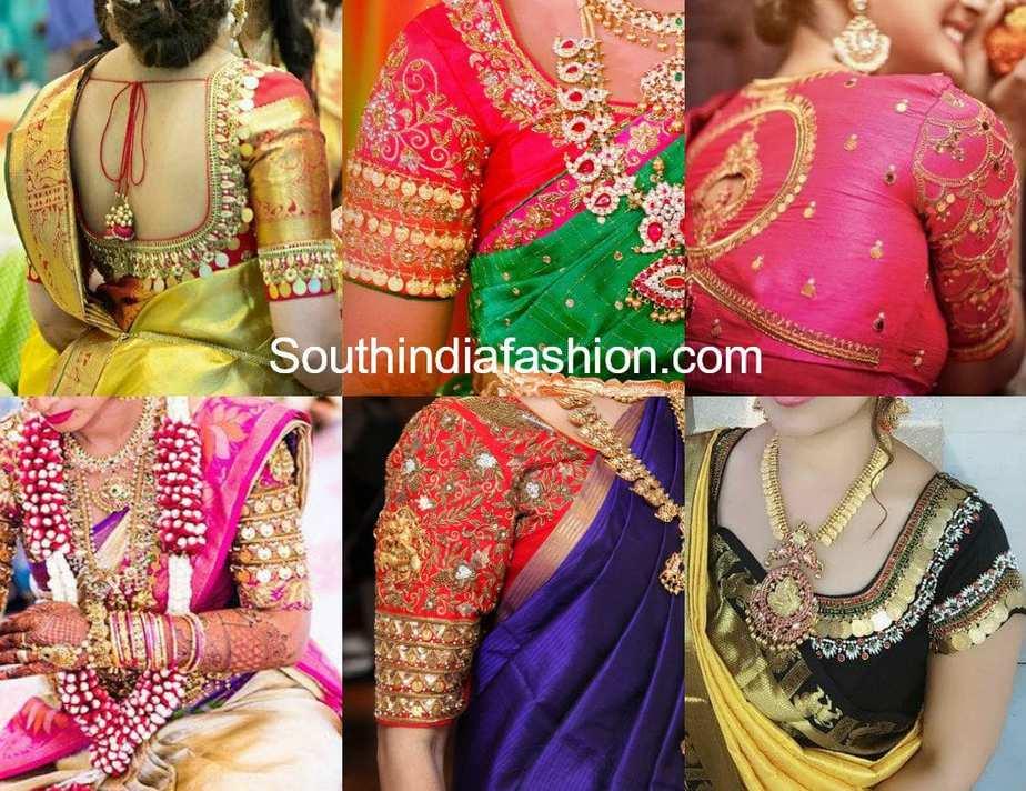 kasu embroidered blouse designs for pattu sarees