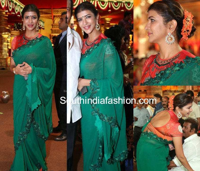 lakshmi manchu green saree at hasini anuj wedding