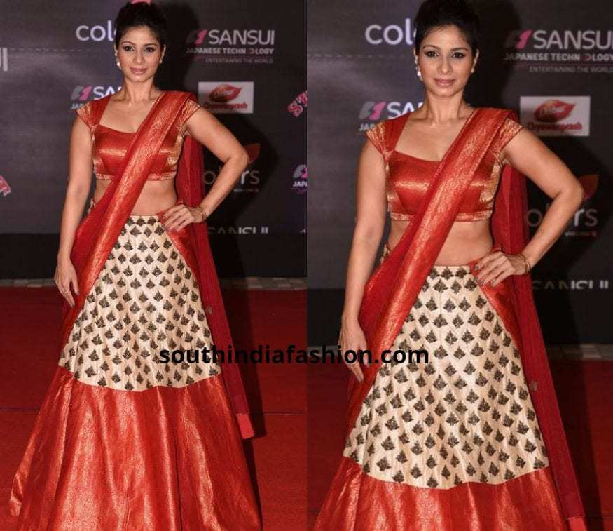 off white and red half saree