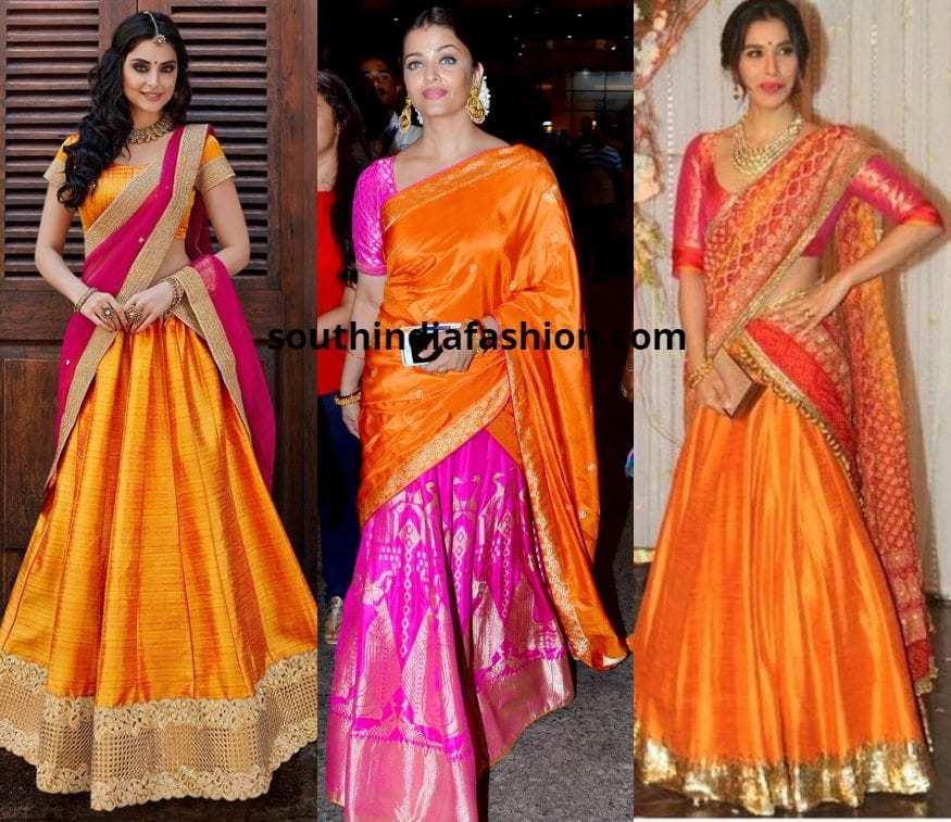 Orange and Pink Half sarees