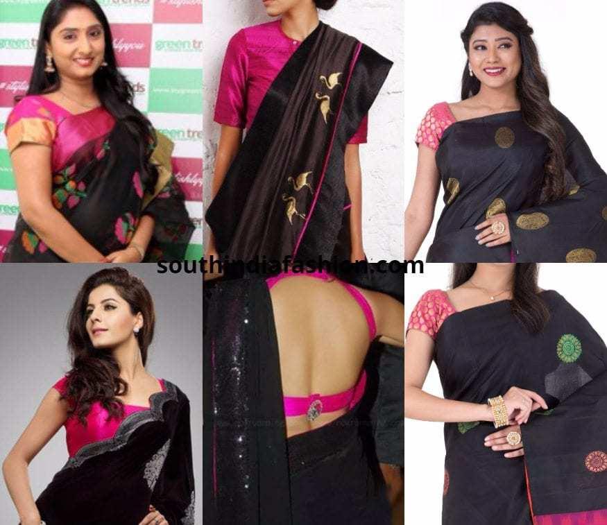 Pink Blouse With Black Saree