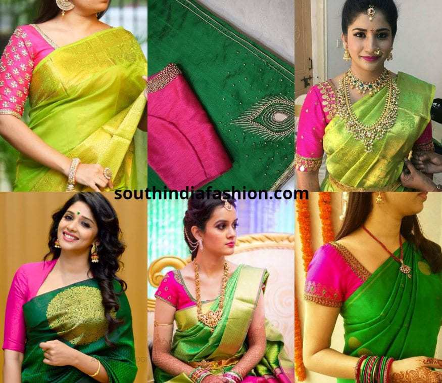 Pink Blouse With Green Saree