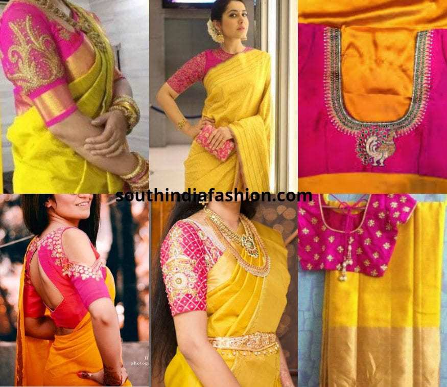 Pink Blouse With Yellow Saree
