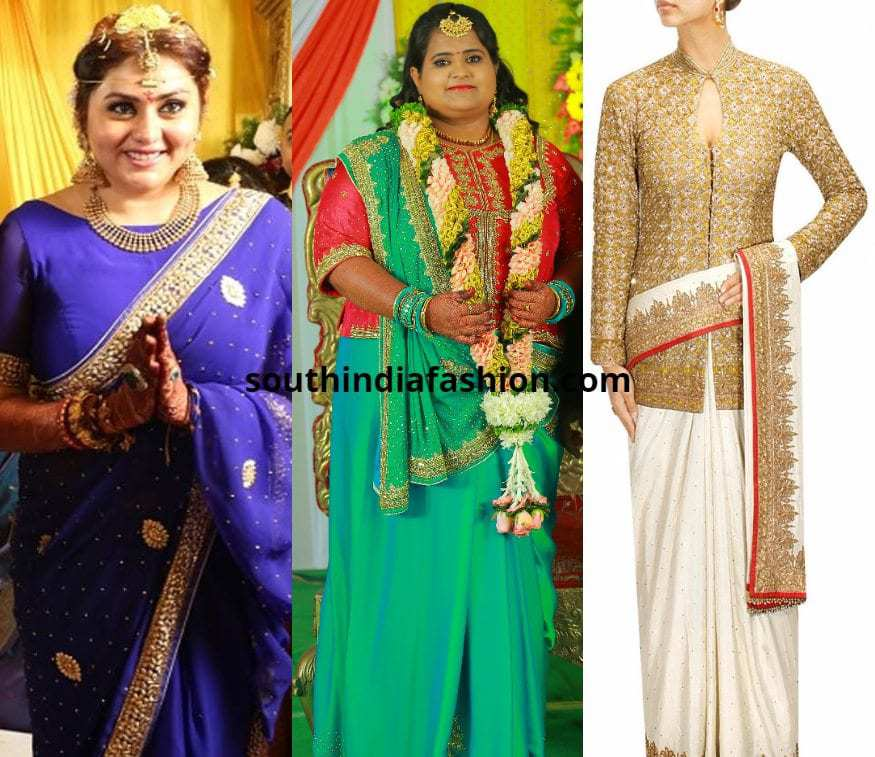 plus size bride in saree and jacket blouse