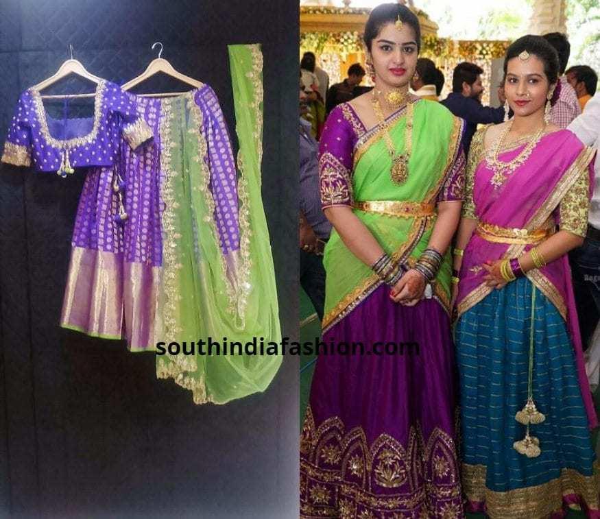 purple and green half saree