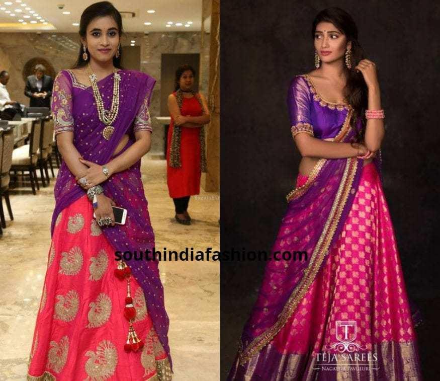 purple and pink half sarees
