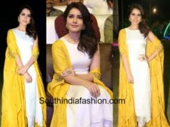 raashi khanna yellow white dress at balakrishnudu audio function