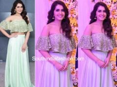 raashi khanna in prathyusha garimella long skirt off shoulder top at samantha naga chaitanya wedding reception