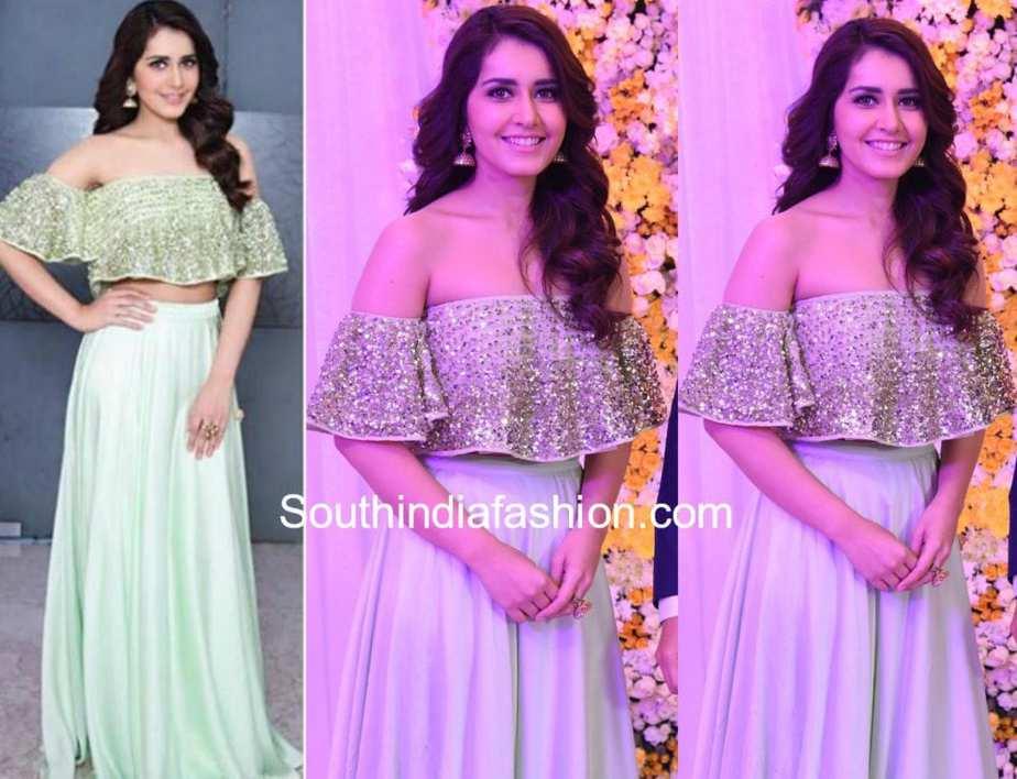raashi khanna in prathyusha garimella long skirt off shoulder top at samantha naga chaitanya wedding reception
