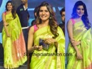 samantha akkineni in green saree by madhurya creations at Balakrishnudu audio launch