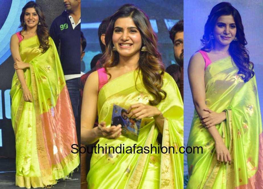 samantha akkineni in green saree by madhurya creations at Balakrishnudu audio launch