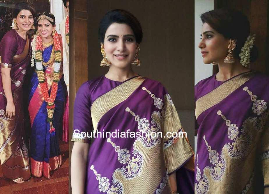 samantha akkineni frined wedding purple banarasi silk saree