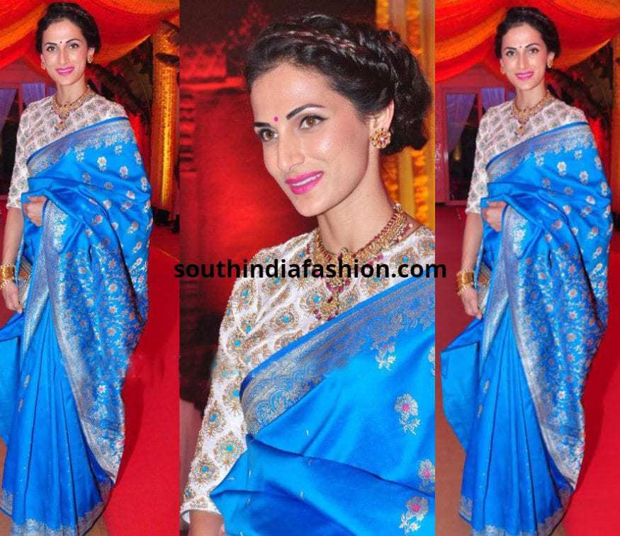 Shilpa Reddy in a blue traditional saree