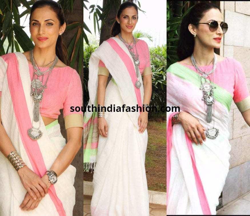 Shilpa Reddy in a linen saree