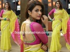 shraddha das in greenish yellow saree for garudavega promotions