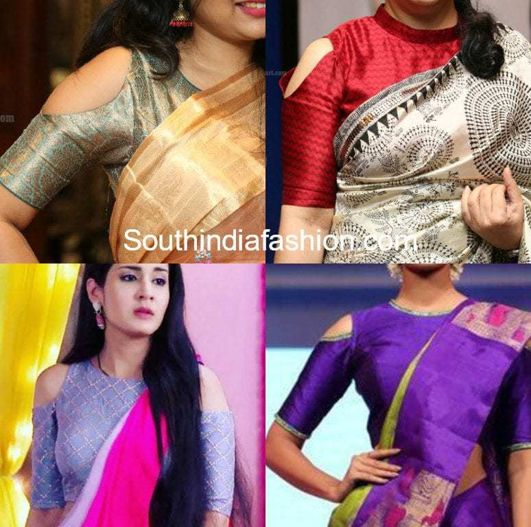 Simple Cold Shoulder Saree Blouse Designs –South India Fashion