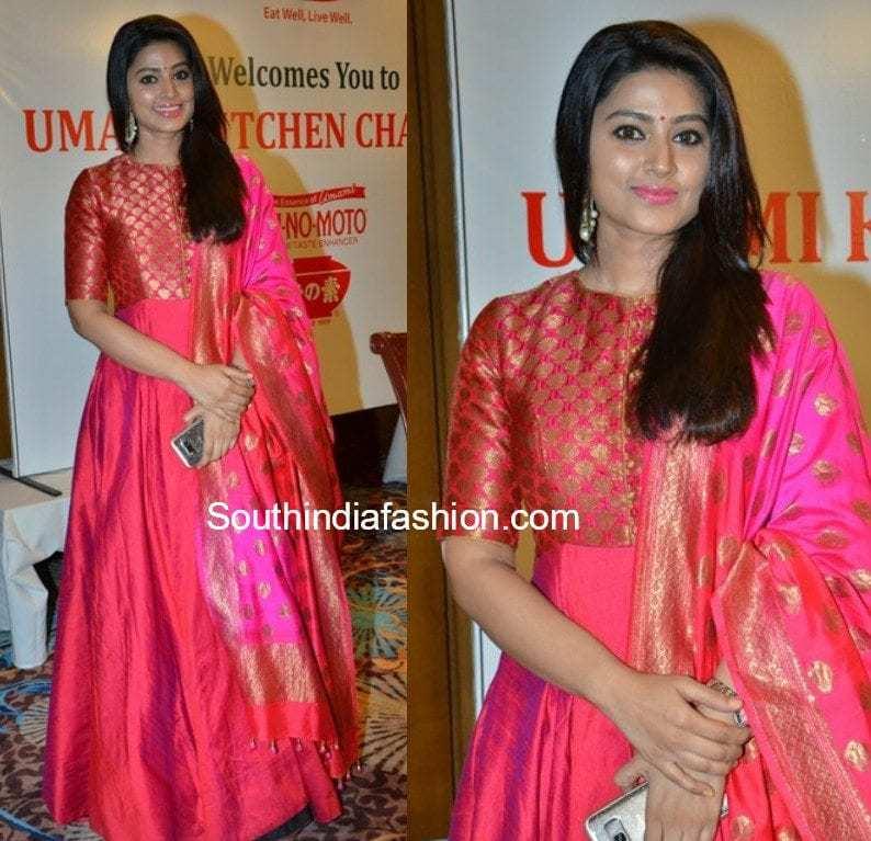 actress sneha in pink anarkali