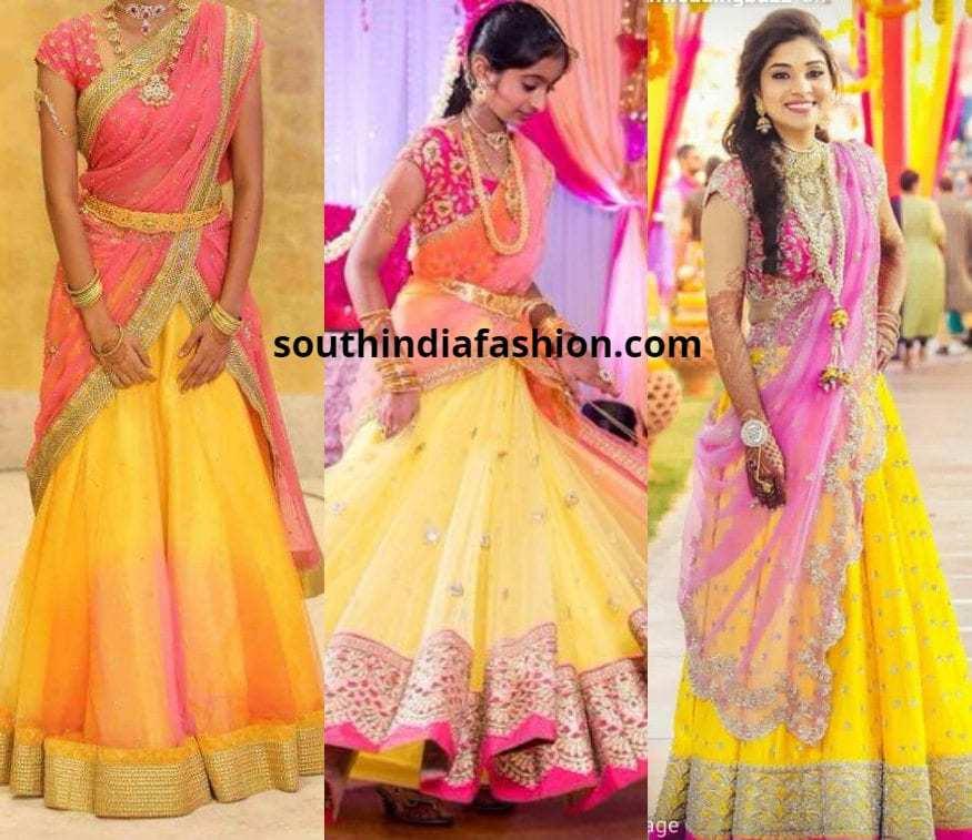 yellow and pink half sarees