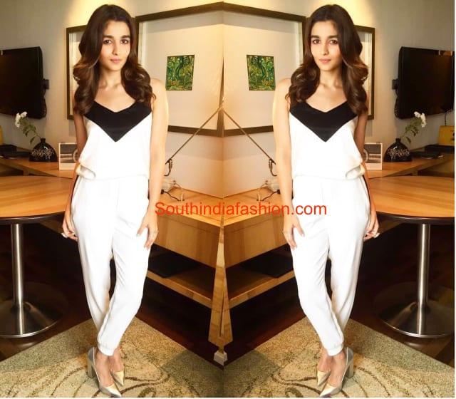 Alia Bhatt in black and white jumpsuit