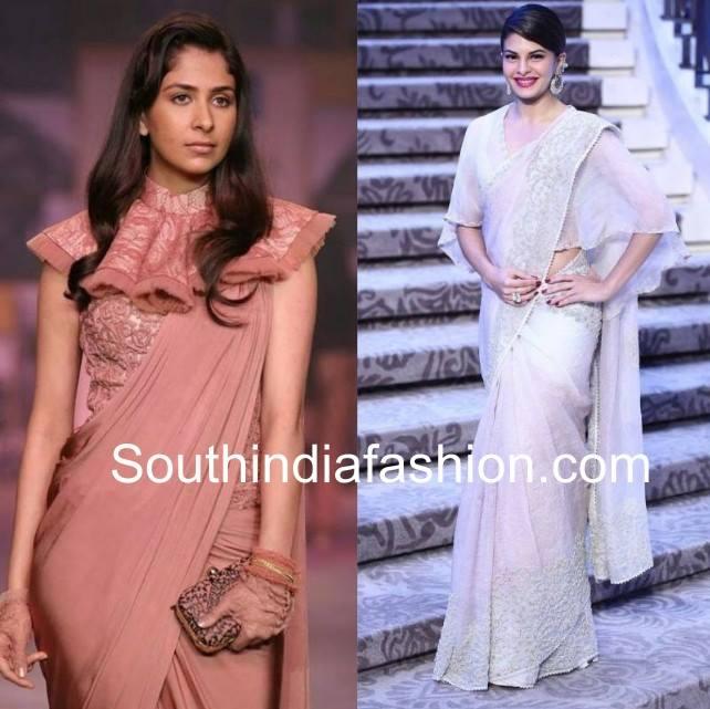 Cape style blouses with plain sarees