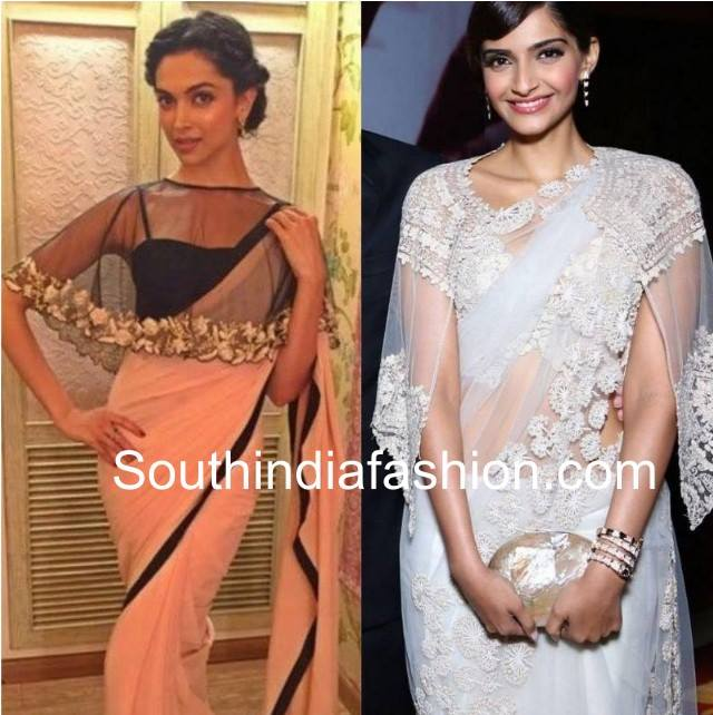 Net cape style blouses with sarees