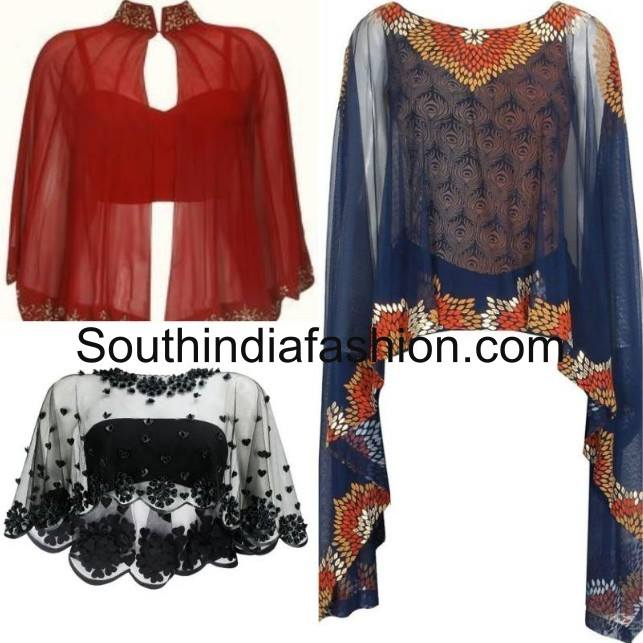 Different types of cape style blouses