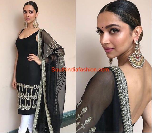 Deepika in black kurta and white legging