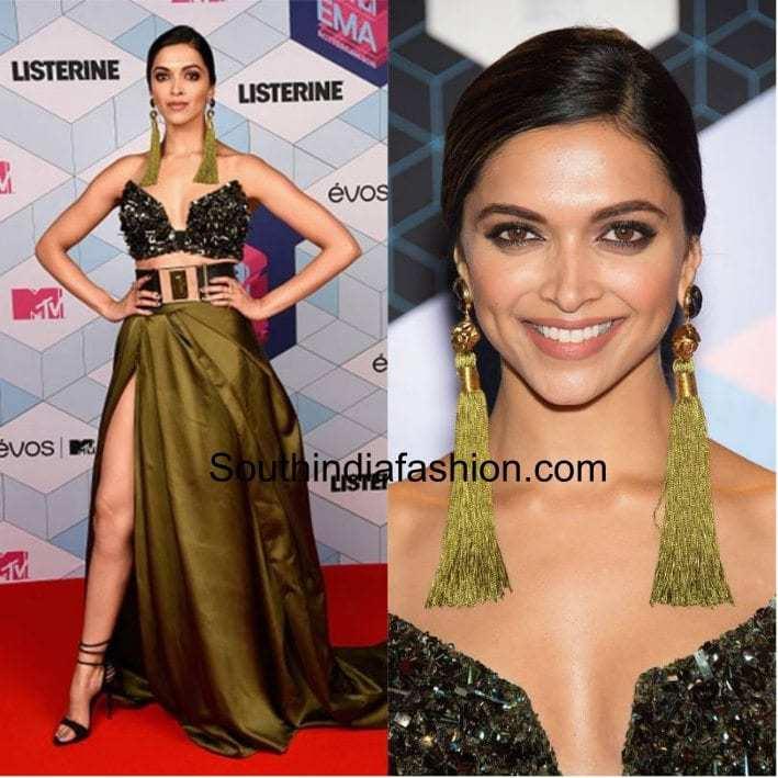 Deepika in stylish ensemble with tassel earrings