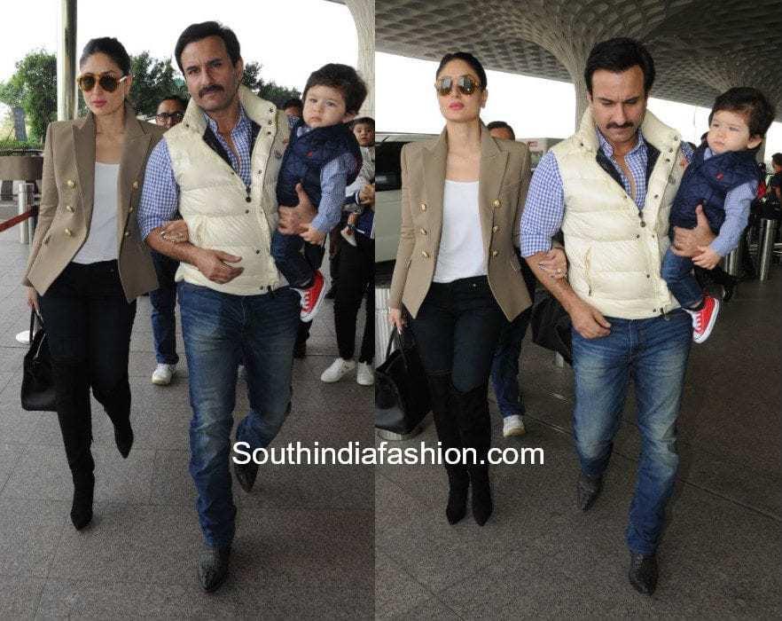 Kareena Kapoor with Taimur and Saif Ali Khan at the airport