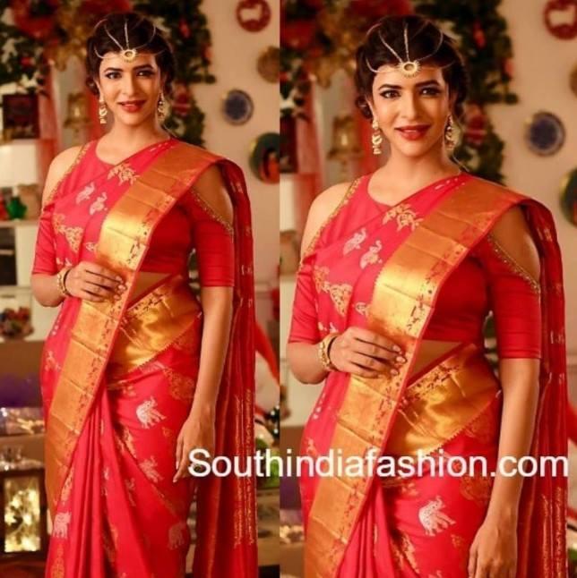 Cold shoulder blouse with pattu saree