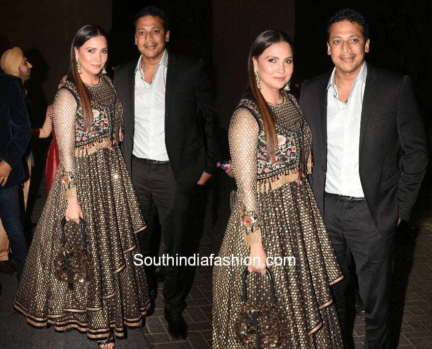 Lara Dutta in Tarun Tahiliani at Virushka Wedding Reception in Mumbai