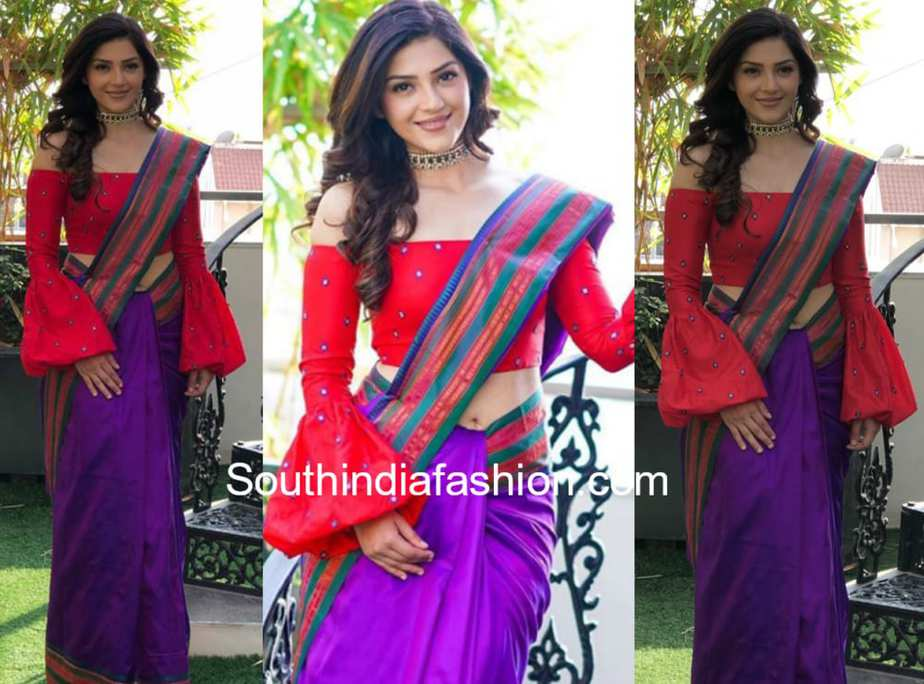 MEHREEN KAUR IN SHILPA REDDY SAREE AND OFF SHOULDER BLOUSE