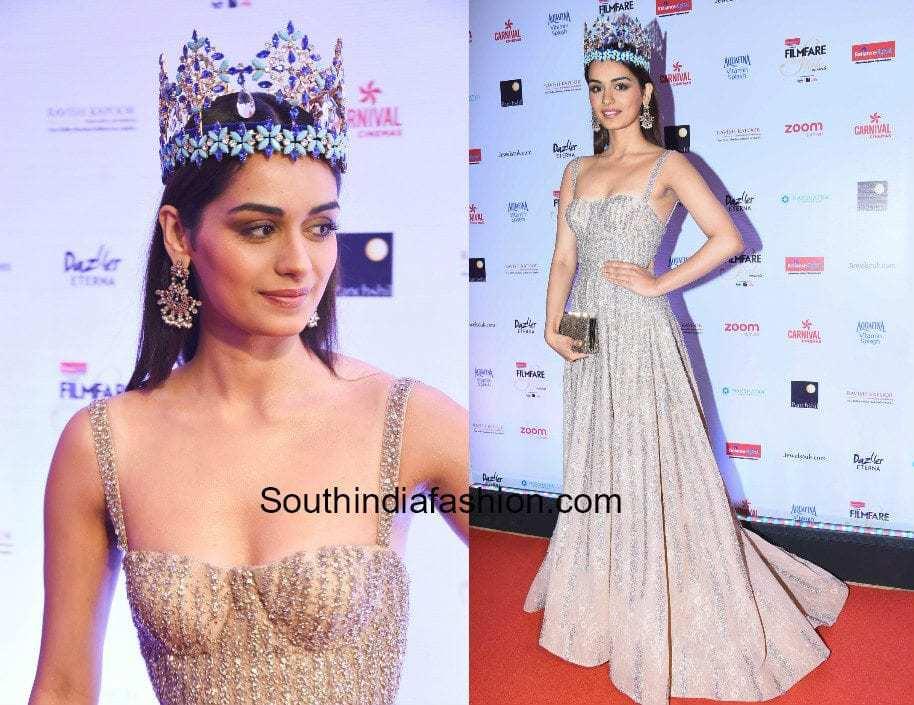 Manushi Chillar in Falguni and Shane Peacock at Filmfare Glamour and Style Awards 2017