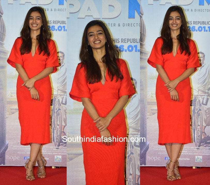 Radhika Apte in a midi dress at Padman Trailer Launch