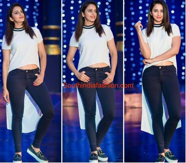 Rakul in black pants and white top