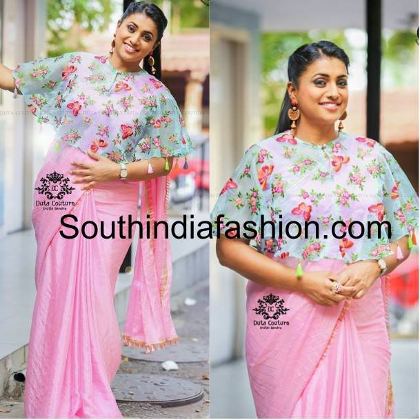 Roja in floral cape blouse