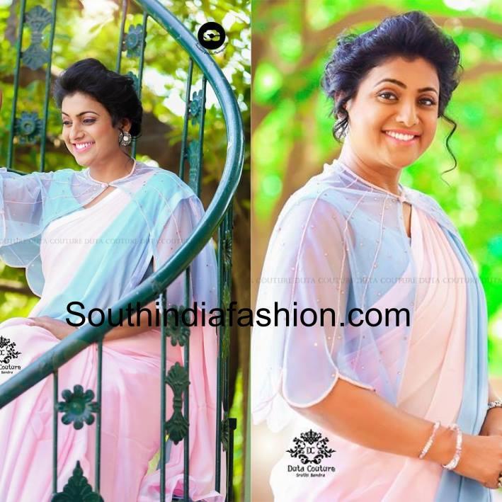 Roja in stylish cape blouse