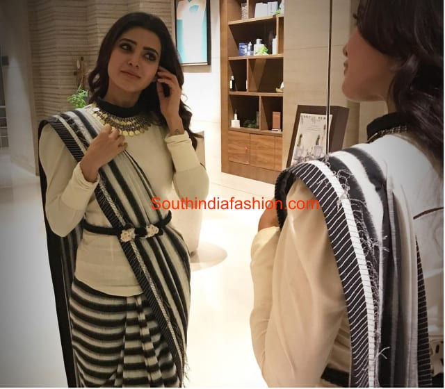 Samantha in black and white striped saree