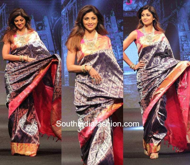44a14dfe14 Shilpa Shetty in a silk saree at Neerus Fashion Show
