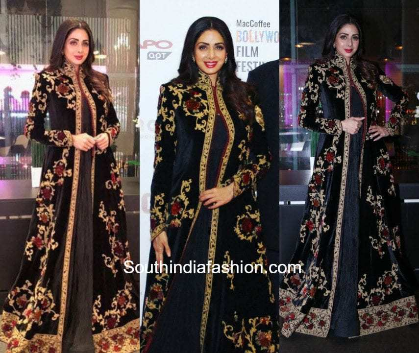 Sridevi Kapoor in Rohit Bal for MOM's premiere in Russia
