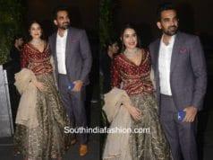 Zaheer Khan and Sagarika Ghatge at Virat Kohli and Anushka Sharma Wedding Reception in Mumbai