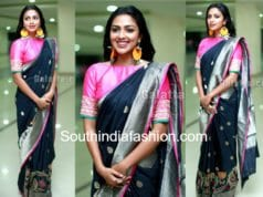 amala paul black saree pink blouse baskar oru rascal audio launch