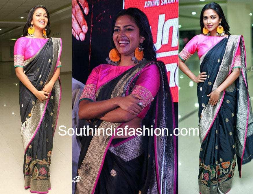 amala paul black saree pink blouse baskar oru rascal audio launch