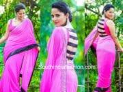 anasuya pink saree black blouse