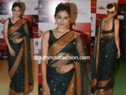 Andrea Jeremiah in black sabyasachi saree at Zee Cine Awards 2018