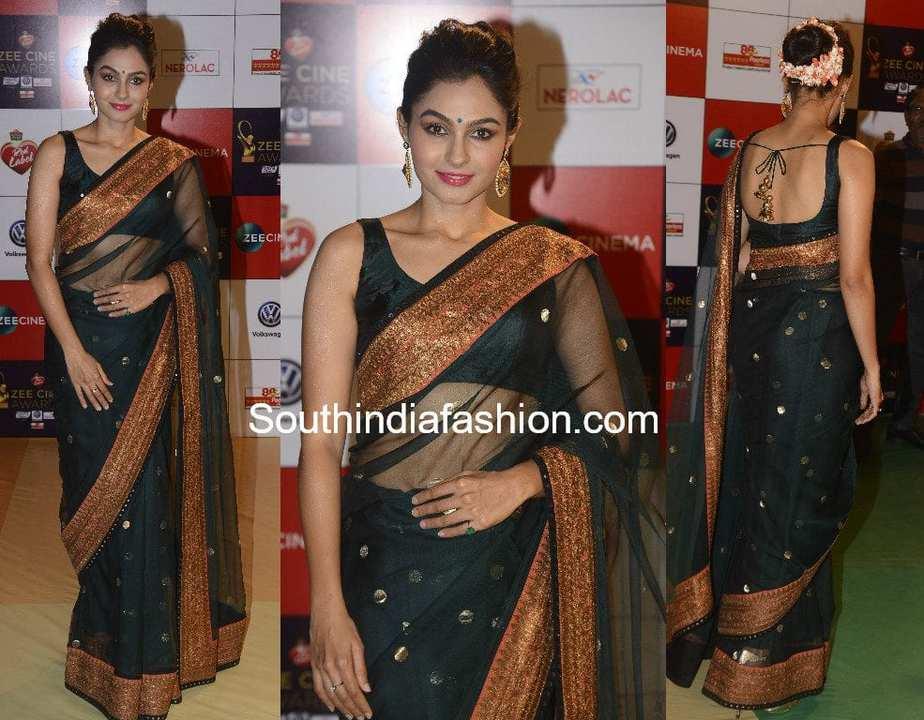 Andrea Jeremiah in black sabyasachi saree at Zee Cine Awards 2018